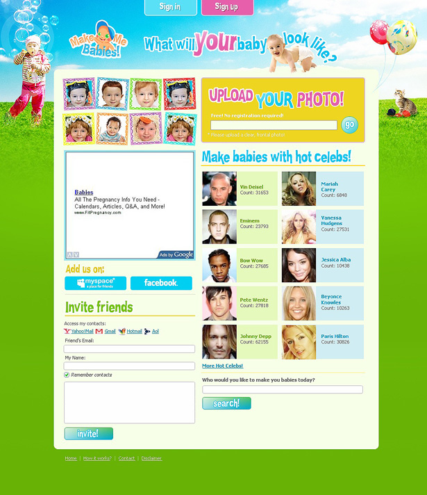 Website Design for MakeMeBabies.com