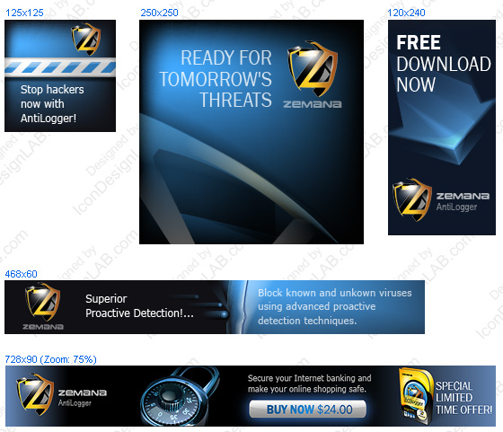 Set of banners for Zemana AntiLogger